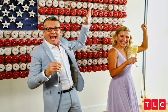 Randy Fenoli and designer Hayley Paige celebrate the upcoming wedding with a donut wall from Cake Boss Buddy Valastro.
