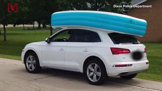 Illinois mother accused of driving with kids on top of SUV in inflatable pool
