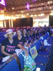 Kamala Harris' line sisters support her during appearance at Essence Festival in New Orleans in July.