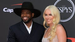 Jul 10, 2019; Los Angeles, CA, USA; Hockey player PK Subban and skier Lindsey Vonn arrives on the red carpet at Microsoft Theatre.