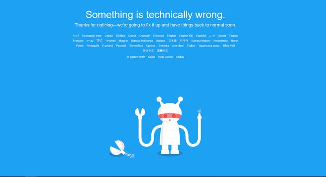 If you're trying to use Twitter right now, this is the fail screen you're probably seeing.