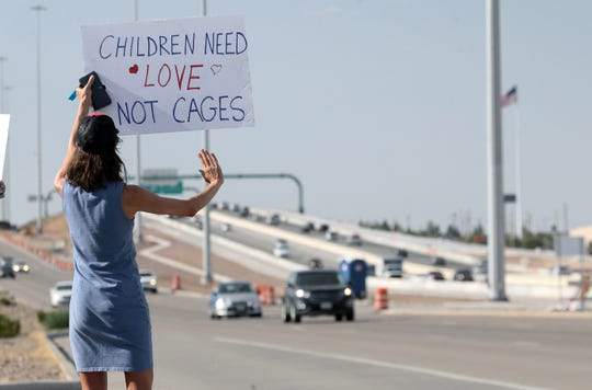 Protester in El Paso, Texas, outside a  Border Patrol station where migrants are being held.