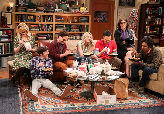"Melissa Rauch, from left, Simon Helberg, Johnny Galecki, Kaley Cuoco, Jim Parsons, Mayim Bialik and Kunal Nayyar in a scene from the series finale of ""The Big Bang Theory."""