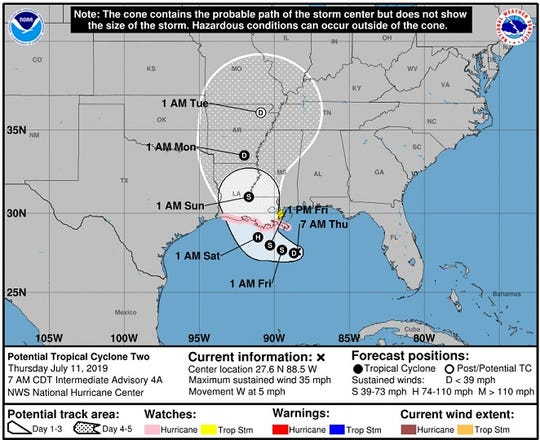 Louisiana is in the bull's eye for the weekend arrival of a potential Hurricane Barry.