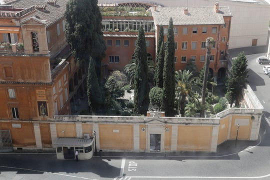 This picture taken on Wednesday, July 10, 2019 shows the view of the Teutonic Cemetery inside the Vatican.