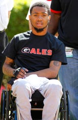 Former Southern University football player Devon Gales watches the Georgia spring game in 2016.