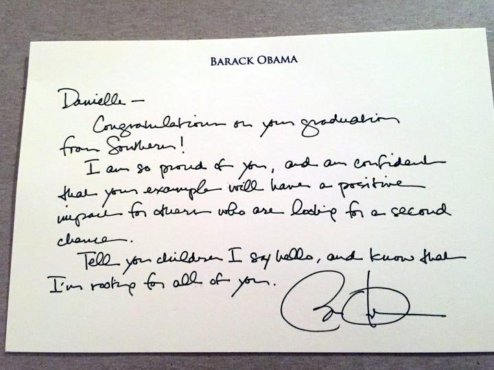 Barack Obama's letter to Danielle Metz.