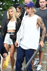 Justin and Hailey Bieber photographed during New York Fashion Week: The Shows on Sept. 6, 2018.