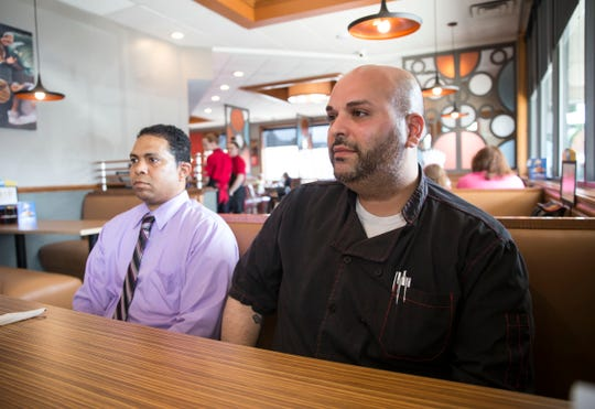 Jack Sayegh, owner EJS Pancake House LLC, has opened his second IHOP restaurant. The new restaurant is located in Wall Township. Sayegh, right, and Gregory Skyers, general manager, talk about the franchise.  Wall Township, NJFriday, July 12, 2019