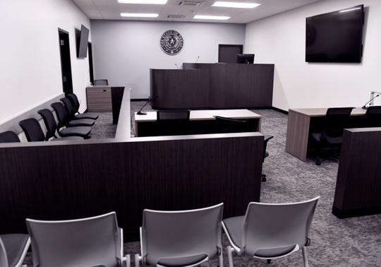 The larger of the two courtrooms in the new Abilene Municipal Court will accommodate a jury trial. Defendants also can appear before the judge in the other courtroom.