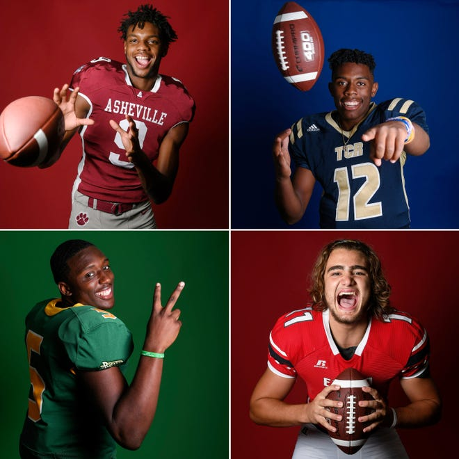 Clockwise from top left, Asheville's Famous Pasley, Roberson's Rodney McDay, Erwin's Tristian Brank and Reynolds' Jhari Patterson.