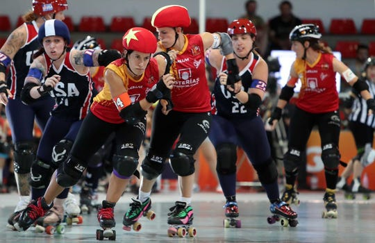 Kaylee Jankowski, left, competes for Team USA at the World Roller Games in Barcelona on July 10.