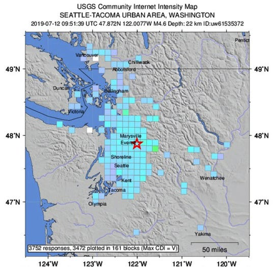 USGS shake map from the July 12 earthquake.