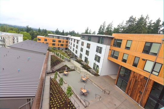 A view of the courtyard area at the BLIS community on Bainbridge Island.