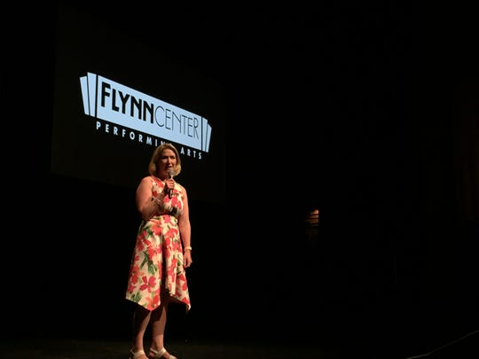 Anna Marie Gewirtz, executive director of the Flynn Center, introduces the performing-arts venue's 2019-20 season schedule on July 12, 2019.