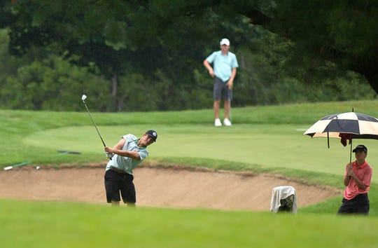 Bryson Richards hits his second shot on the par-5 13th hole at Rutland Country Club during the final round of the 2019 Vermont Amateur championship on Thursday, July 11.