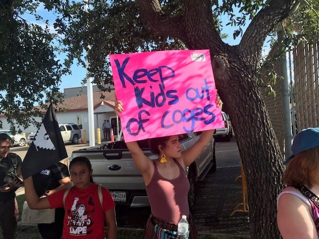 Protesters assemble outside the Ursula Central Processing Center in McAllen, the largest U.S. Customs and Border Protection detention center for undocumented immigrants.