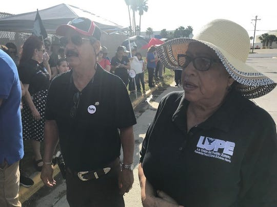 Juanita Valdez-Cox, executive director of LUPE, and protesters assemble outside the Ursula Central Processing Center in McAllen.