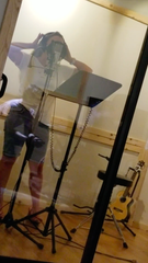 Stefany Mayz records at a studio in Los Angeles. Her song, 'We Will Not Be Shamed,' takes on the stigma and misconceptions surrounding sexual assault.