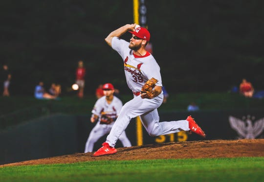 Bryan Dobzanski, a 2014 Delsea High School graduate, pitches for the Springfield Cardinals, the St. Louis Cardinals Double-A affiliate, on July 11.