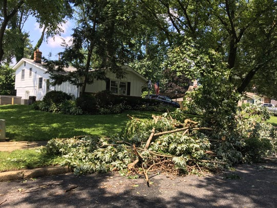 Large tree branches are shown in front of a home in the Ramblewood section of Mount Laurel. The National Weather Service has confirmed that a tornado touched down there on Thursday night.