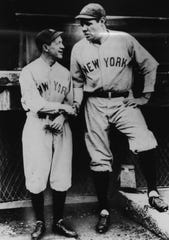 Babe Ruth and Miller Huggins, in 1921 or 1922.