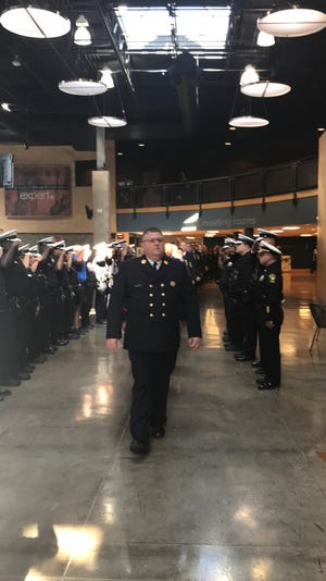 JULY 12, 2019 CINCINNATI: Cincinnati police officers attended the Cincinnati Fire Department's 117th recruit class graduation July 12, 2019. Josh Kim, son of fallen police officer Sonny Kim, who was shot and killed in the line of duty, was among the firefighter recruit graduates.