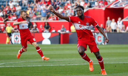 Jul 3, 2019; Chicago, IL, USA; Chicago Fire forward C.J. Sapong (9) reacts after scoring against Atlanta United during the first half at Bridgeview Stadium.