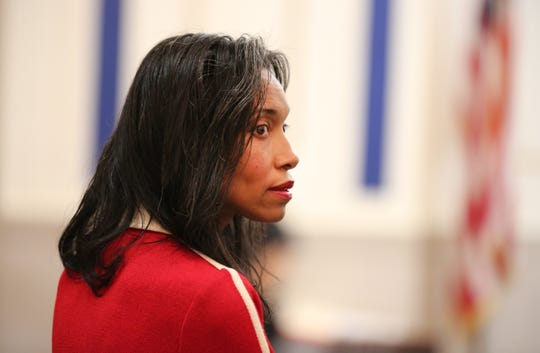 Tracie Hunter in Hamilton County Common Pleas Court Judge Norbert Nadel's courtroom on Oct. 14, 2014. After a six-week trial, a jury found her guilty of a single charge, having unlawful interest in a public contract. The jury was not able to reach a unanimous verdict on the other eight counts.