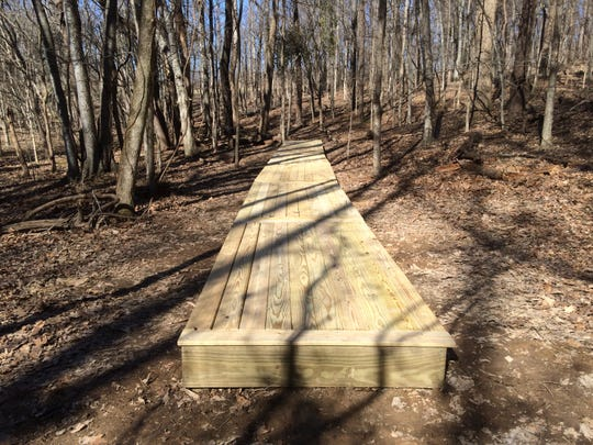 Hunter Belvin's Eagle Scout project at Dunbar Cave State Park after it was completed in February 2017.