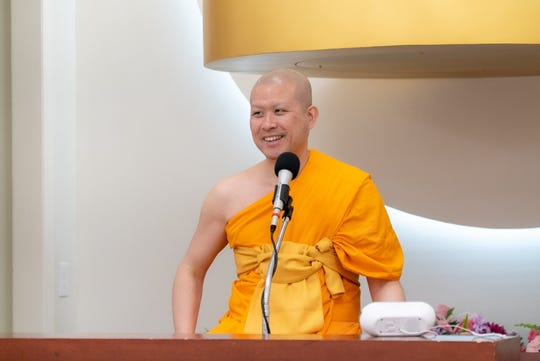 Venerable John Paramai interacts with the audience members during his talk at DIMC.