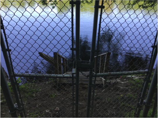 A locked gate at one of the old entrances used by Delaware River Tubing, Inc. The gate was locked by State Park Police, according to DRT Operations Manager Yuuji Crance.