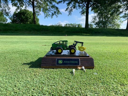 A replica of a 948L-II skidder serves as one of the special tee markers at the 2019 John Deere Classic.