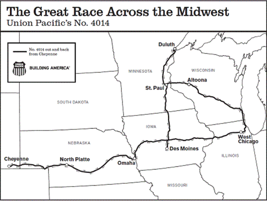 This map shows the route the Union Pacific's traveling steam-powered train museum will take across the Midwest during the last week of July into the first week of August.
