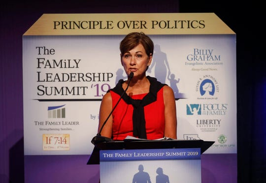 Iowa Gov. Kim Reynolds speaks during the 2019 Family Leadership Summit on Friday, July 12, 2019, in West Des Moines.