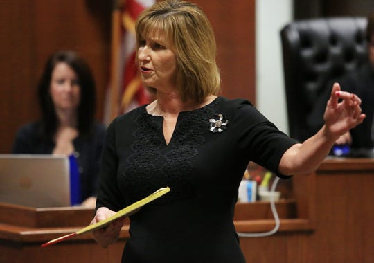 Assistant Scott County Attorney Julie Walton makes her opening statement on Thursday, July 11, 2019.