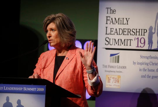 United States Sen. Joni Ernst (R-Iowa) speaks during the 2019 Family Leadership Summit on Friday, July 12, 2019, in West Des Moines.