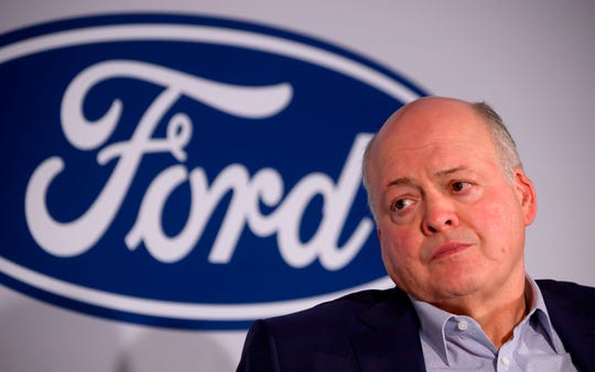 Jim Hackett, CEO of Motor Company, is pictured here attending a press conference in 2019 in New York City.