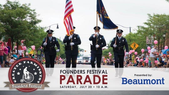 The Founders Festival Parade is being held in downtown Farmington on Saturday morning. Other festival activities are moving to Shiawassee Park in 2019.