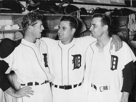 It was a happy group indeed that gathered in dressing room after Tigers rallied to nip the White Sox in the ninth inning, 2 to 1 in 1958. Left to right they are Mickey McDermott (he drove in winning run with single), Vito Valentinetti (got victory with brillian relief job) and Charlie Maxwell (hit double to start big ninth round).