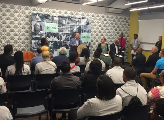Detroit Mayor Mike Duggan speaks to students during the 2019 launch of the city's Grow Detroit Young Talent Program, which will place more than 8,000  young Detroiters in summer jobs.