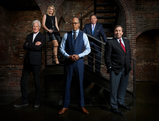 "Keith Morrison, from left, Andrea Canning, Lester Holt, Josh Mankiewicz and Dennis Murphy on the set of NBC's ""Dateline."""