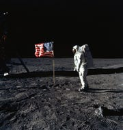 Astronaut Edwin E. Aldrin Jr. on the moon during the July 1969 Apollo 11 mission.