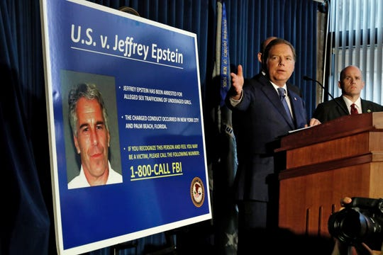 U.S. Attorney for the Southern District of New York Geoffrey Berman announces Monday, July 8, 2019, sex trafficking and conspiracy charges against wealthy financier Jeffrey Epstein.