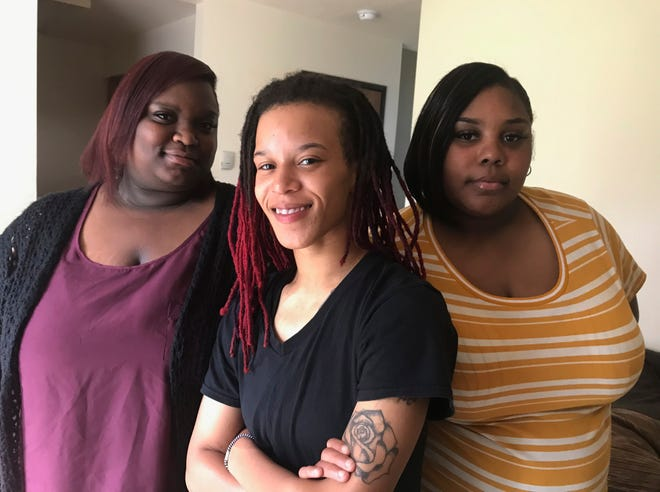 LaMaya McGuire, 22, Jennifer McEwen, 25, and Sasha Collins, 27, all of Lansing, Mich., are shown. The women say a Delta Township Denny's ignored racial slurs directed at them by another patron.