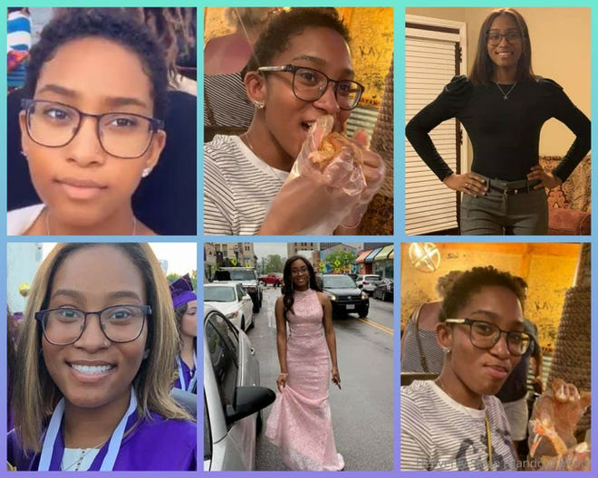 A collage of pictures of missing woman Heavenly Sloan