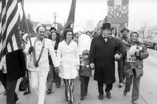 Pontiac resident Irene McCabe, far right, leader of a local homeowners group called the National Action Group (NAG), led an anti-bussing walk to Washington D.C. on  March 15, 1972.