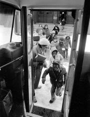 Busing of public school students in Detroit on the first day, Jan. 26, 1976.