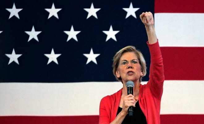 Democratic presidential candidate Sen. Elizabeth Warren, D-Mass., speaks during a campaign stop at town hall in Peterborough, N.H., Monday, July 8, 2019.