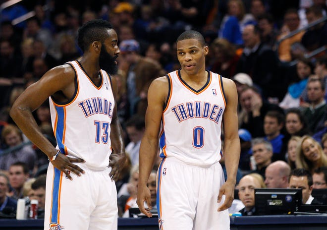 Former Thunder teammates James Harden, left, and Russell Westbrook are joining forces again in Houston.